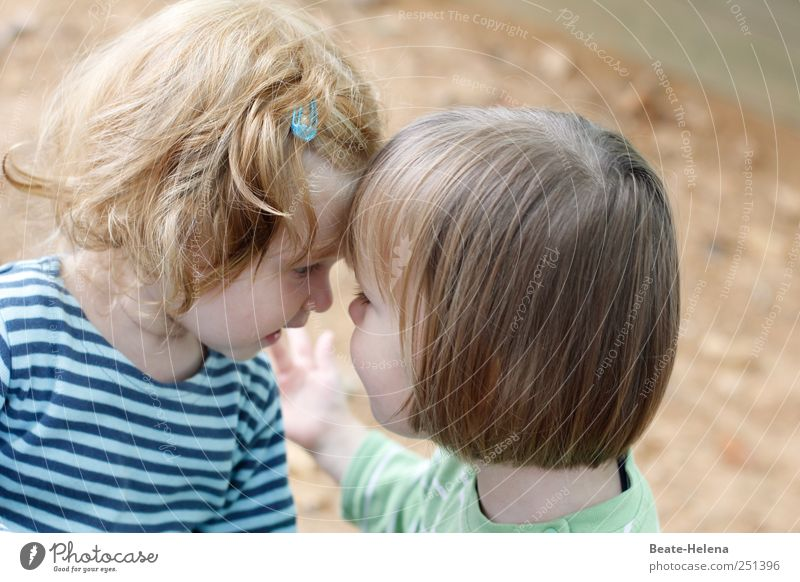 Human being Summer Playing Head Happy Friendship Infancy Blonde T-shirt Communicate Illuminate Touch Mysterious Friendliness Toddler Smiling