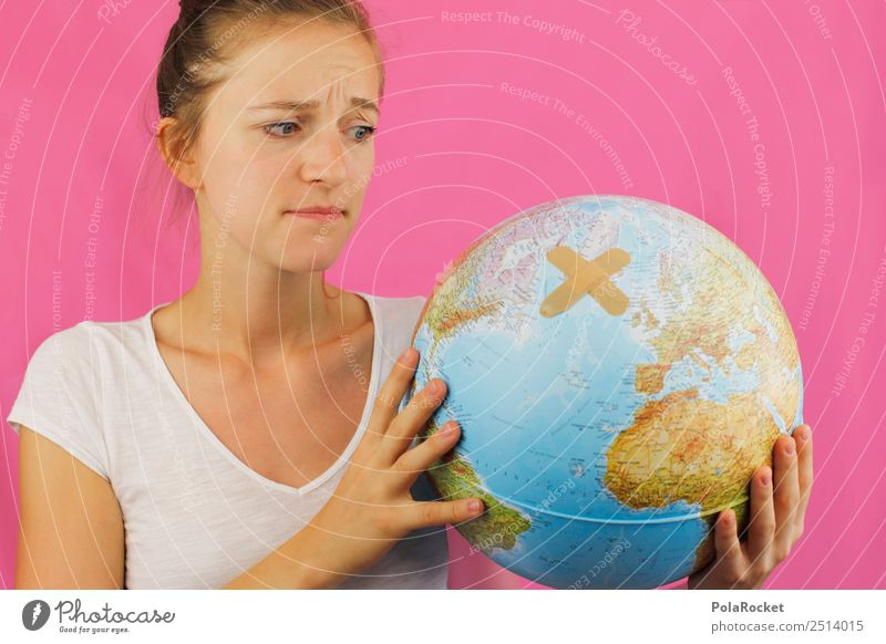 Human being Young woman Environment Art Earth Esthetic Future To hold on Fear of the future Environmental protection Globe Sustainability Concern Ecological