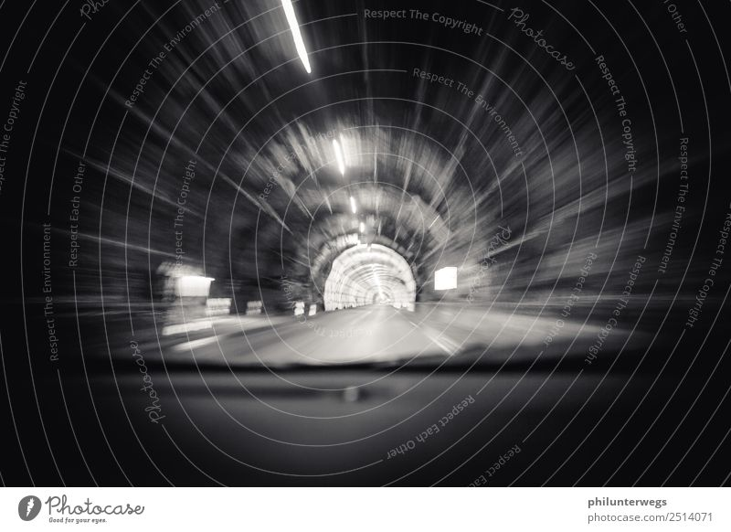 Driving in a tunnel - warp, speed of light Hill Rock Alps Mountain Norway Scandinavia Means of transport Traffic infrastructure Motoring Street Lanes & trails