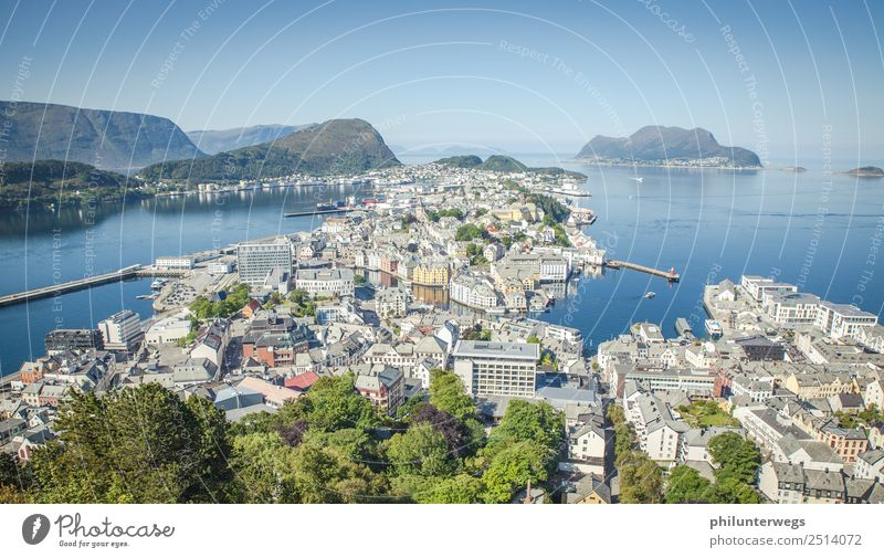 Alesund, Norway from above view with sea Elegant Leisure and hobbies Vacation & Travel Tourism Trip Adventure Far-off places Freedom Sightseeing City trip