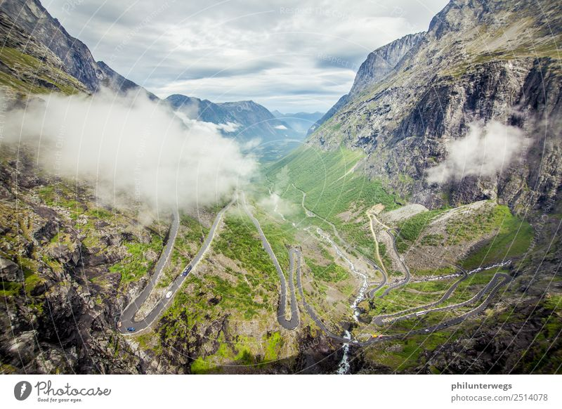 Trollstigen serpentine road in Norway with clouds Leisure and hobbies Tourism Trip Adventure Far-off places Freedom Sightseeing Expedition Environment Nature