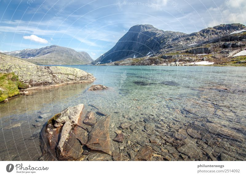 Alpine lake in Norway without people with snow in the background Leisure and hobbies Fishing (Angle) Vacation & Travel Tourism Trip Adventure Far-off places