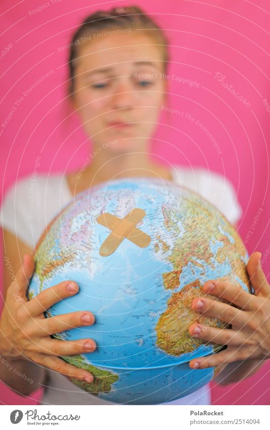 #A2# Woman looks at globe, bruised and hurt Art Work of art Esthetic Earth Universe Map of the World Around-the-world trip World exposition Environment