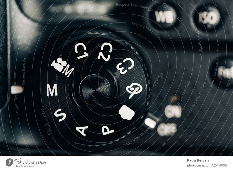 Digital Camera Control Dial Showing Generic Photography Modes Hardware Video camera Technology Sign Characters Digits and numbers Signs and labeling Modern