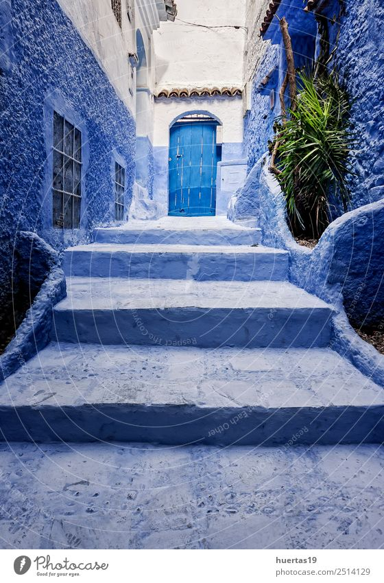 Chaouen the blue city Vacation & Travel Old Blue Architecture Building Tourism Shopping Village Downtown Store premises Small Town City Vertical Morocco Moslem
