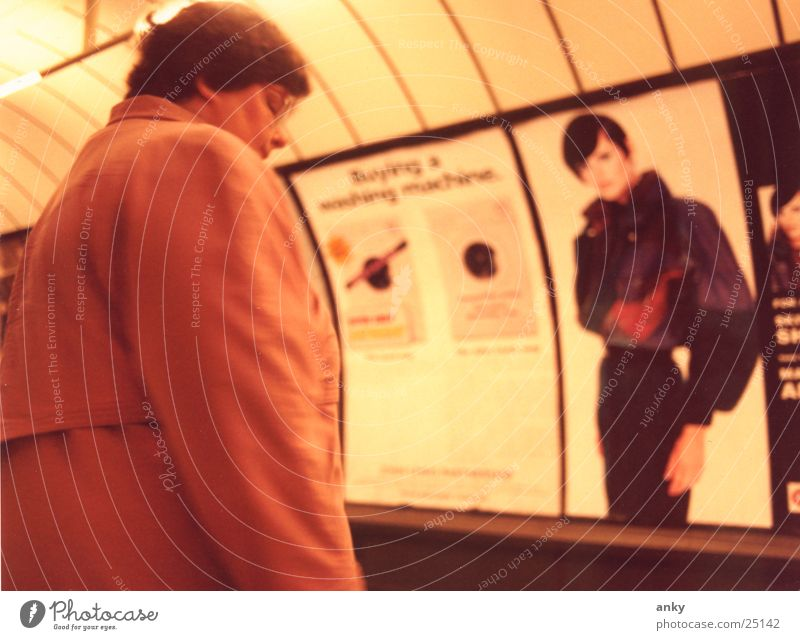 Woman Think Wait Underground London Underground England Portrait photograph