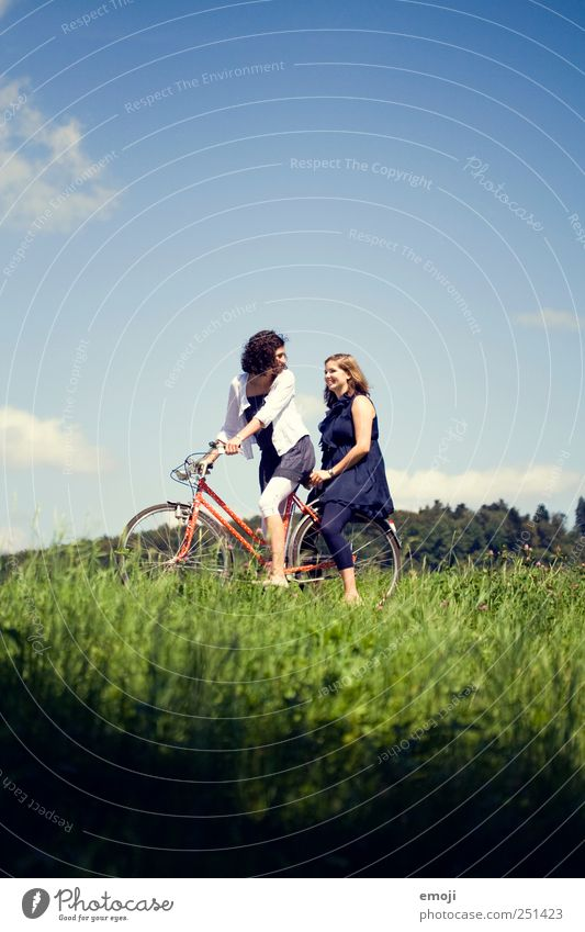 Human being Sky Nature Youth (Young adults) Blue Green Summer Joy Adults Environment Meadow Grass Happy Funny Friendship Bicycle