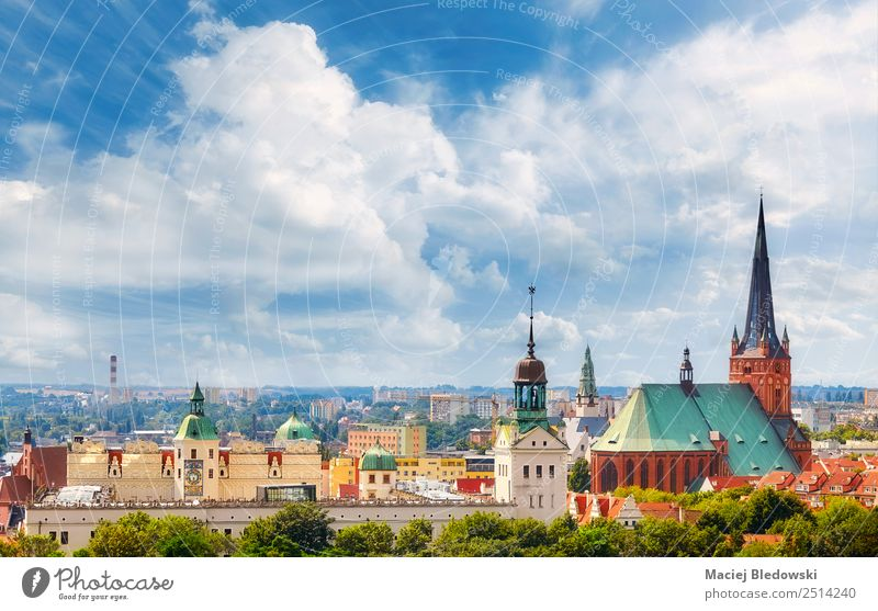 Panoramic view of Szczecin City downtown. Vacation & Travel Tourism Sightseeing City trip Summer Sky Town Downtown Old town Skyline Church Dome Castle Tower