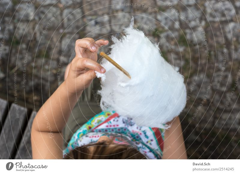 Girl plucks off a piece of cotton candy Candy Cotton candy Eating Human being Child Hand 1 3 - 8 years Infancy Touch To enjoy Multicoloured Gray White Plucking