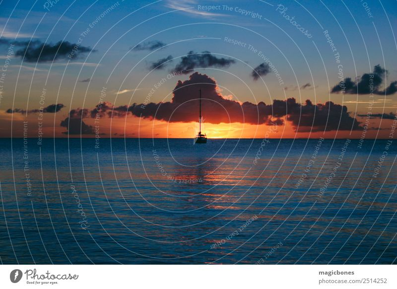 St Lucia Sunset Vacation & Travel Island Sailing Clouds Sailboat Blue Orange Serene rodney bay st lucia caribbean peaceful tranquil Watercraft Silhouette Calm