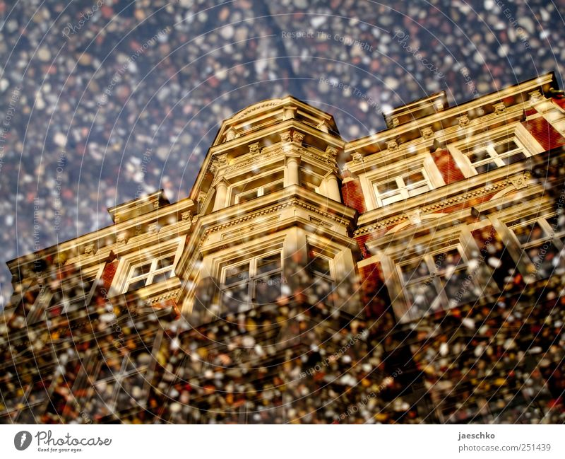 exposed aggregate concrete look Luneburg Old town House (Residential Structure) Building Architecture Facade Esthetic Historic Beautiful Puddle Mirror image