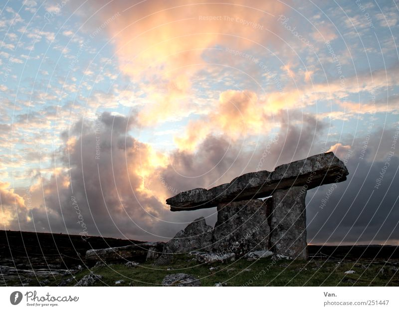 Poulnabrone Dolmen² Calm Vacation & Travel Freedom Nature Sky Clouds Rock Ireland Ruin Tomb Tourist Attraction Old Large Yellow Stone Monument Colour photo