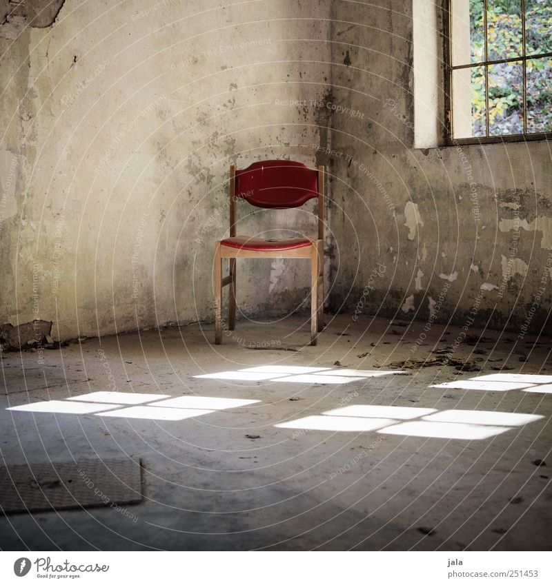 Red Window Gray Building Room Gloomy Chair Manmade structures