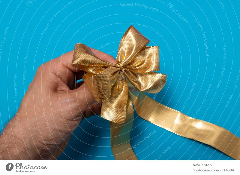 golden gift ribbon Party Feasts & Celebrations Birthday Hand Fingers Packaging Bow Utilize To hold on Blue Gold Curiosity Loop Gift wrapping Box up Donate