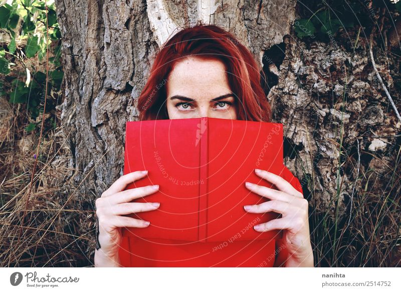 Young redhead woman reading a book Lifestyle Style Design Freckles Leisure and hobbies University & College student Human being Feminine Young woman
