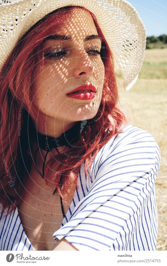 Young redhead woman covering from sun Lifestyle Elegant Style Design Beautiful Hair and hairstyles Skin Face Wellness Senses Relaxation Summer Summer vacation