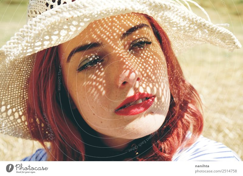 Young redhead woman covering from sun Lifestyle Elegant Style Beautiful Skin Face Vacation & Travel Summer Summer vacation Sun Human being Feminine Young woman