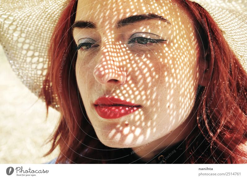 Young redhead woman covering from sun Elegant Style Design Beautiful Skin Face Freckles Harmonious Summer Sun Human being Feminine Young woman