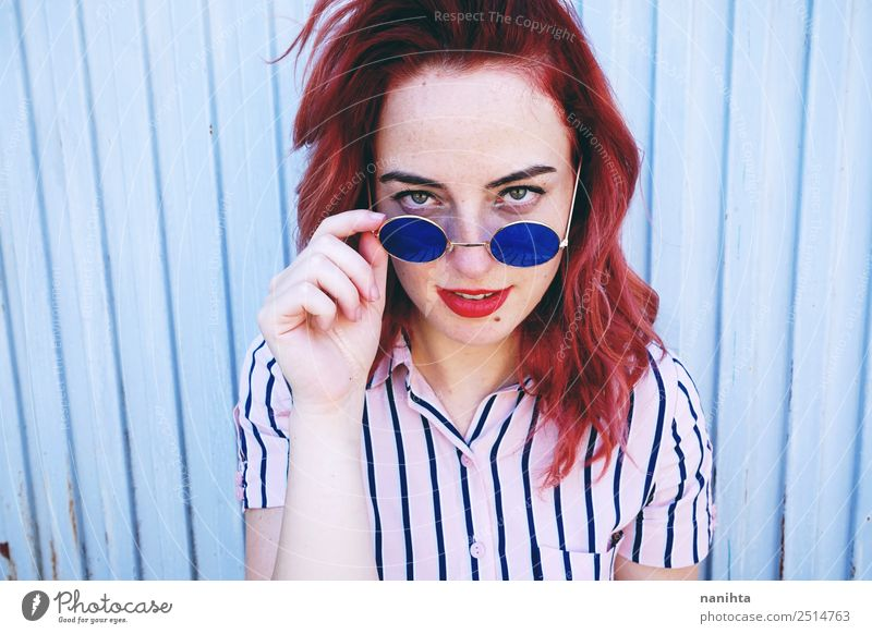 Young redhead woman with vintage look Lifestyle Style Design Beautiful Hair and hairstyles Face Make-up Human being Feminine Young woman Youth (Young adults)