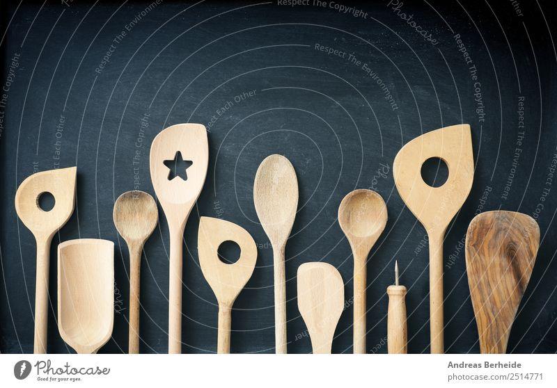 Cooking spoon , Wooden spoon on a board Cutlery Spoon Style Retro Creativity used assortment set row blackboard chalkboard shovel kitchen tools wooden utensils
