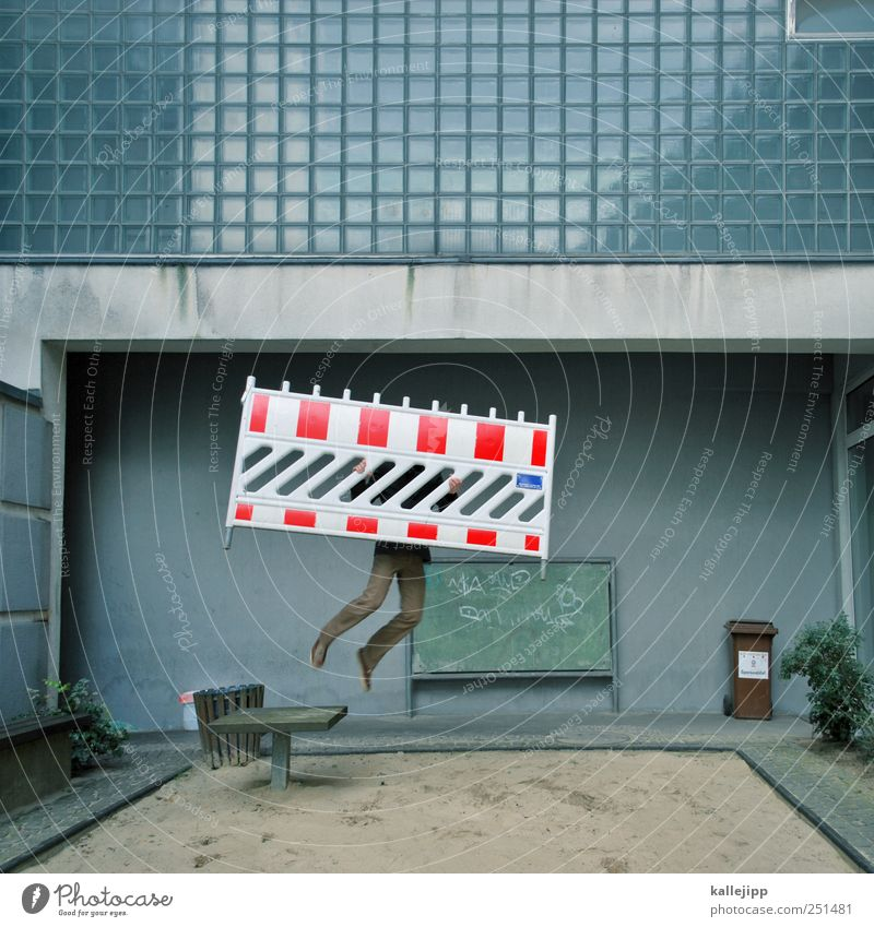 Human being City Red Life Window Jump Facade Signs and labeling Masculine Stripe Construction site Signage Barrier Playground Trash container