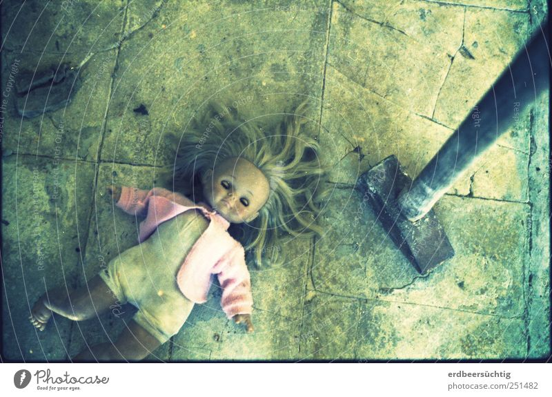 it was an accident...! Jacket Stone Lie Threat Dirty Cold Trashy Force Infancy Feeble Destruction Floor covering Stone floor Hammer Doll Accident Closed eyes