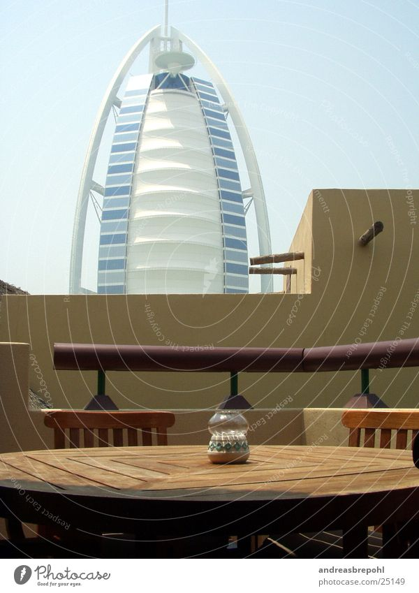 Burj Al Arab from our dog Dubai Wood Light Physics Architecture Glass Contrast Sun Warmth New Old