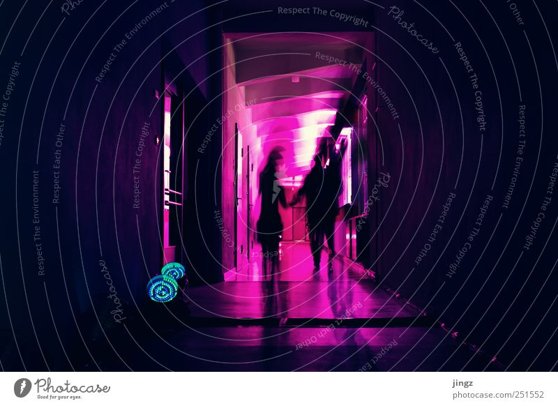 ghosts Human being 2 Illuminate Creepy Violet Pink Black Mysterious Surrealism spirit Ghosts & Spectres  colour fastness Colour photo Interior shot
