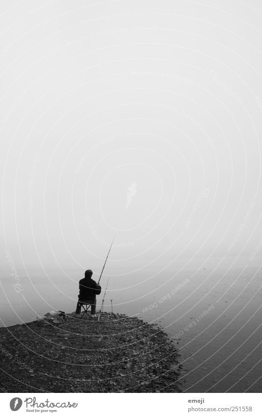 Human being Sky Water Ocean Loneliness Dark Cold Autumn Gray Adults Lake Sit Fog Masculine Gloomy Elements