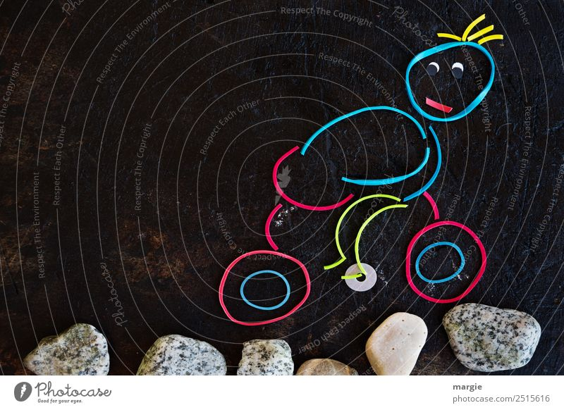 Rubber worms: cyclist riding over stones Athletic Fitness Leisure and hobbies Handicraft Sports Sports Training Sportsperson Cycling Human being Masculine