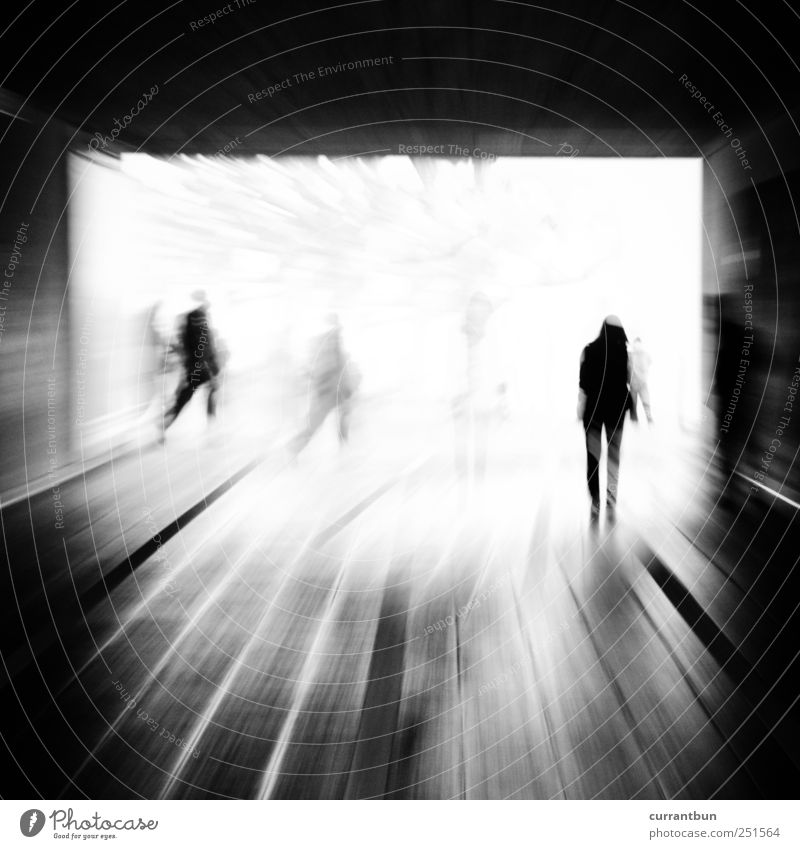 please oscillate them.... Concrete Line Stripe Beginning Fear Effort Esthetic Change Group Human being Tunnel vision Underpass Black & white photo Exterior shot
