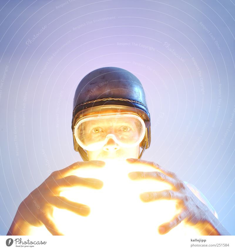 everybody's on the run Human being Masculine Man Adults Life Head Face Eyes Hand Fingers 1 Art Helmet Lamp Eyeglasses Sphere Fortune-telling Colour photo