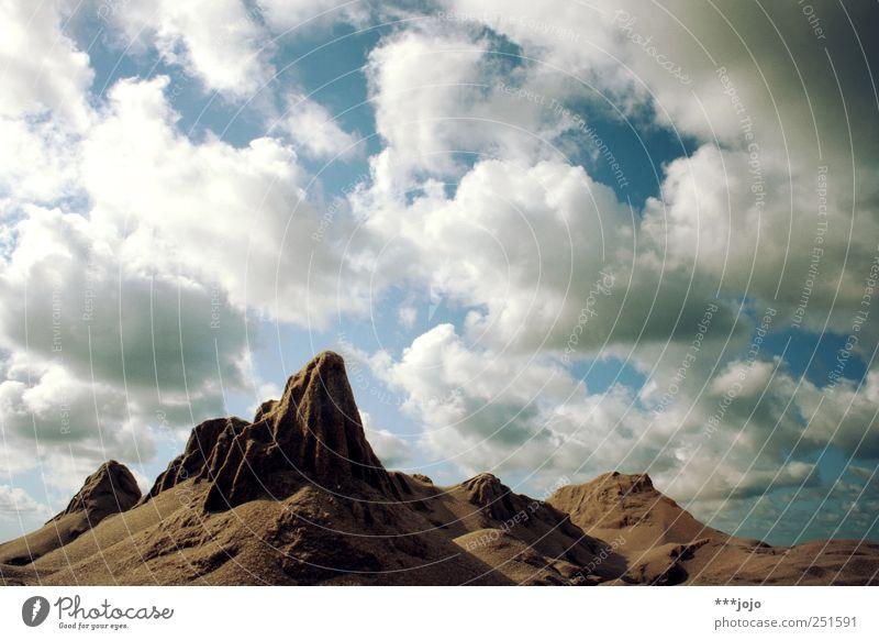 Nature Clouds Far-off places Mountain Landscape Brown Rock Desert Deception Steep Badlands Denmark Gigantic Miniature