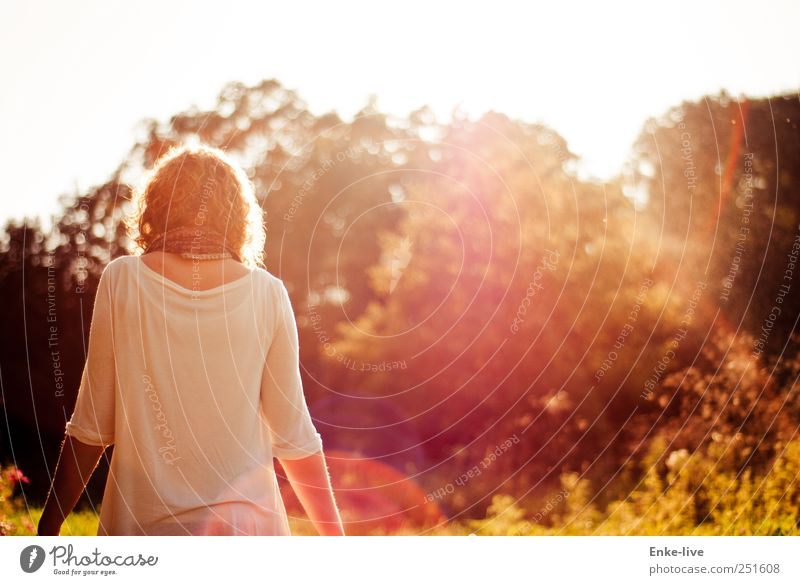 against the light Human being Young woman Youth (Young adults) Woman Adults 1 Nature Beautiful weather Grass Bushes Foliage plant Park Meadow Blonde Curl