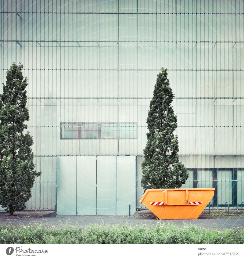 container Art Museum Culture Tree Meadow Town Manmade structures Architecture Facade Window Container Growth Tall Gloomy Green Orange Arrangement Change