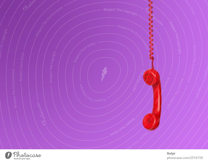 Red telephone cable hanging isolated on purple background Office Telecommunications Business To talk Telephone Technology Plastic Line Old Listening Communicate