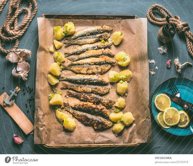 Fried sardines with potatoes and lemon Food Fish Herbs and spices Nutrition Lunch Dinner Crockery Style Design Table Kitchen Simple Sardine Cooking Roasted
