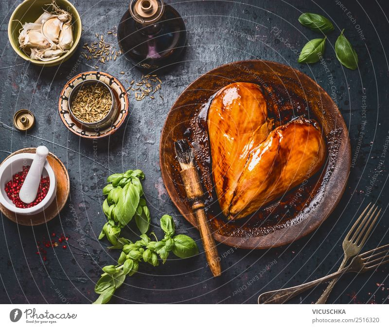 Marinated chicken breast with ingredients Food Meat Herbs and spices Cooking oil Nutrition Lunch Dinner Organic produce Crockery Plate Style Design