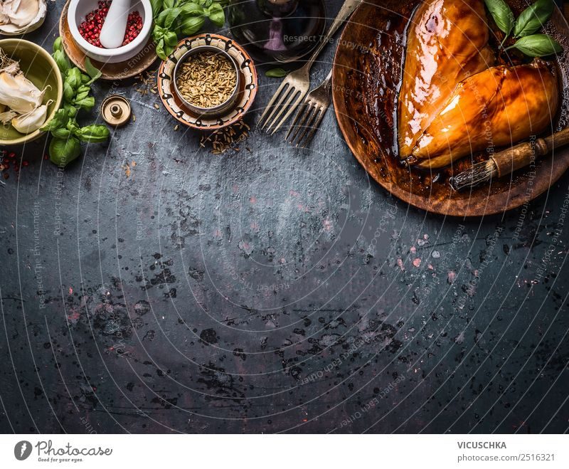 Marinated heart-shaped chicken breast fillet with ingredients Food Meat Herbs and spices Cooking oil Nutrition Lunch Dinner Organic produce Diet Crockery Fork