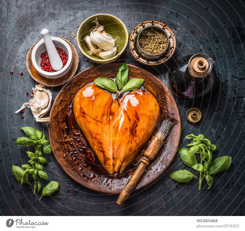 Marinated heart-shaped chicken breast fillet with rubbing brush Food Meat Herbs and spices Cooking oil Nutrition Organic produce Diet Crockery Style Design
