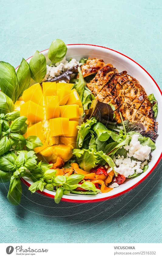 Low carb salad with chicken and mango Meat Vegetable Lettuce Salad Nutrition Lunch Dinner Buffet Brunch Organic produce Diet Plate Style Design Healthy