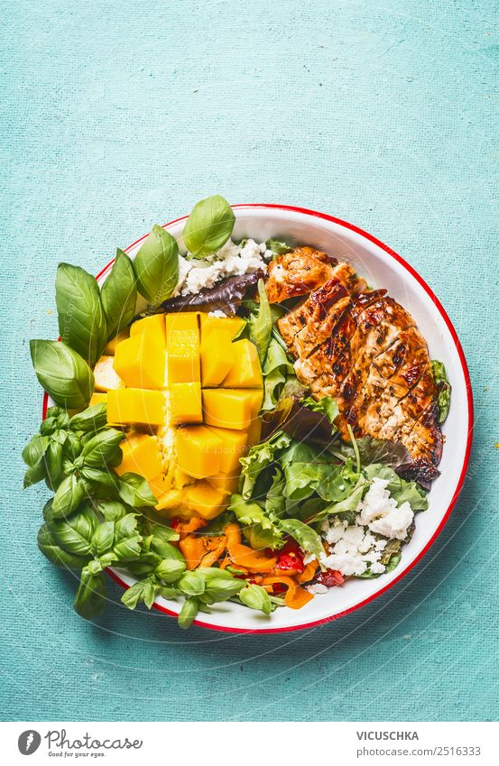 Chicken salad with mango and feta Food Meat Cheese Lettuce Salad Nutrition Lunch Buffet Brunch Organic produce Plate Style Design Healthy Healthy Eating