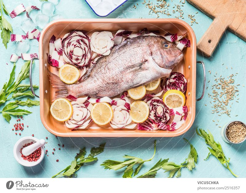 Rosa Dorado Fish in baking tin Food Vegetable Herbs and spices Cooking oil Nutrition Lunch Dinner Banquet Organic produce Vegetarian diet Diet Style Design