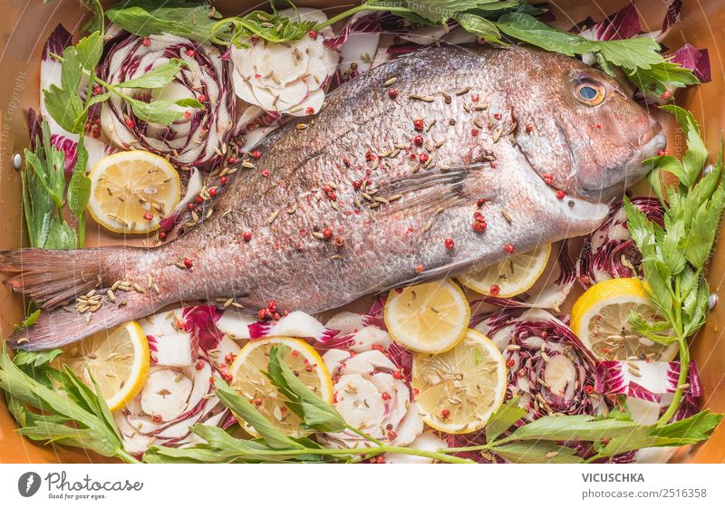 Pink Dorado fish with vegetables and zirones Food Fish Vegetable Herbs and spices Nutrition Lunch Banquet Organic produce Vegetarian diet Diet Slow food