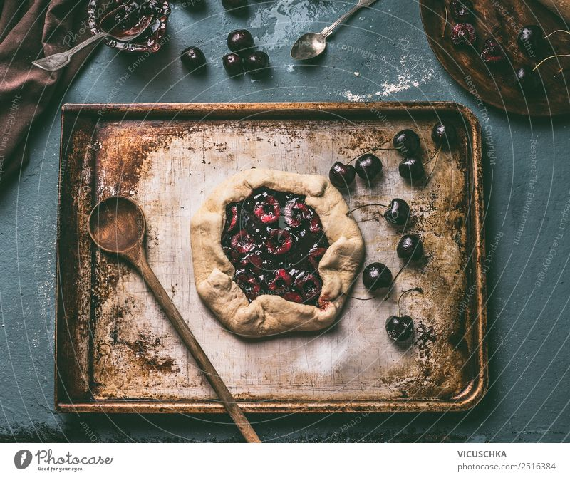 Prepare cherry cake. Cherry Galette Food Fruit Dough Baked goods Cake Nutrition Organic produce Crockery Style Design Living or residing Table Kitchen