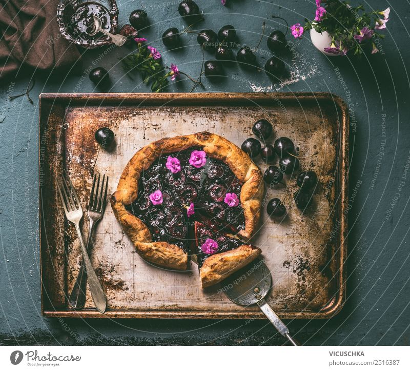 Cherry cake on the kitchen table Food Fruit Cake Dessert Nutrition Crockery Style Design Healthy Summer Living or residing Table Kitchen Still Life cherry pie