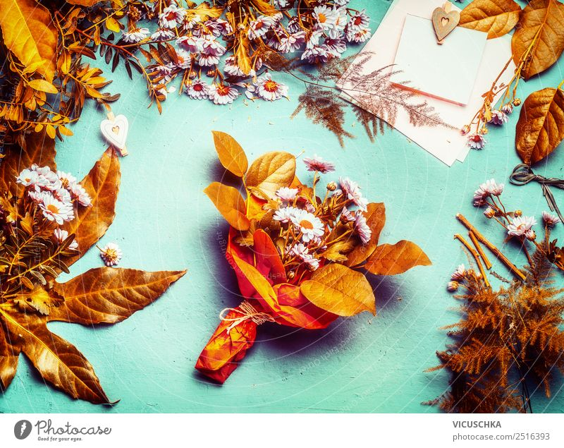 Autumn flowers and leaves decoration with bunch of flowers Style Design Decoration Table Flower Leaf Bouquet Yellow Pink Autumnal Autumn leaves Floristry Gold
