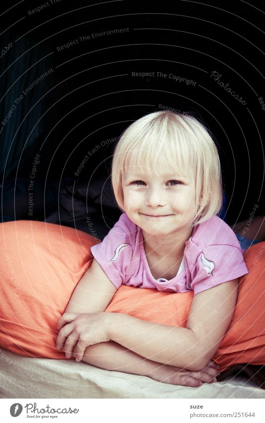 Good child Joy Face Human being Toddler Girl Infancy Arm 1 3 - 8 years Child Blonde Smiling Laughter Lie Small Cute Cushion Colour photo Multicoloured