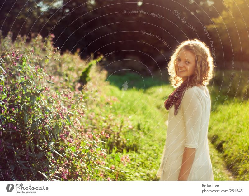 Woman Human being Nature Youth (Young adults) Beautiful Life Meadow Feminine Grass Happy Adults Park Contentment Blonde Wait