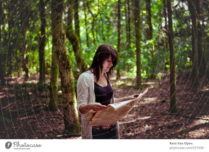 Newspaper forest Woman Tree Forest Reading Dark-haired Dark hair